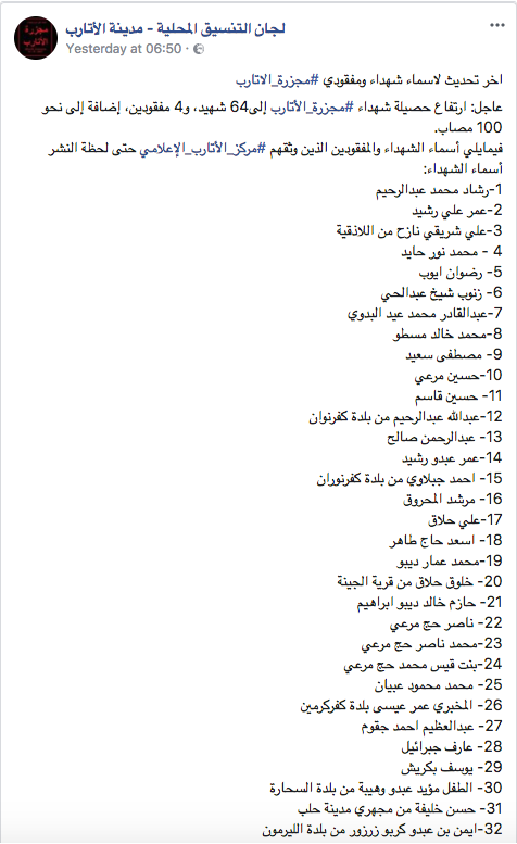 Names of civilians killed